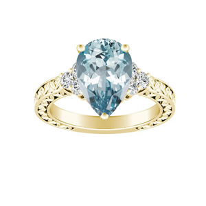 VICTORIA  Vintage  Style  Aquamarine  Engagement  Ring  In  14K  Yellow  Gold  With  1.00  Carat  Pear  Stone