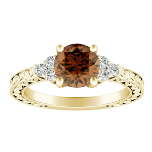 VICTORIA  Vintage  Style  Brown  Diamond  Engagement  Ring  In  14K  Yellow  Gold  With  0.50  Carat  Round  Diamond