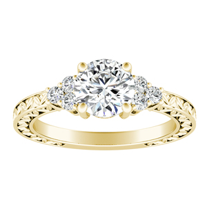 VICTORIA Vintage Style Diamond Engagement Ring In 14K Yellow Gold
