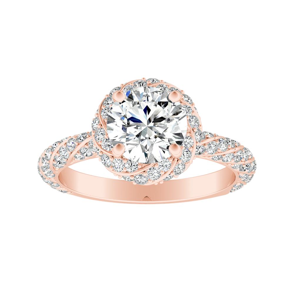VIVIEN Halo Diamond Engagement Ring In 14K Rose Gold