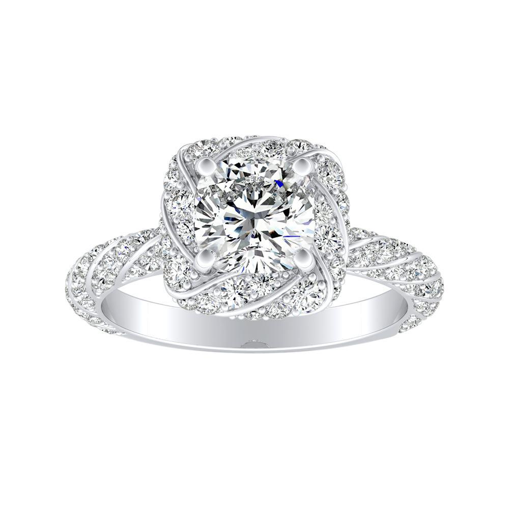 VIVIEN Halo Diamond Engagement Ring In 14K White Gold