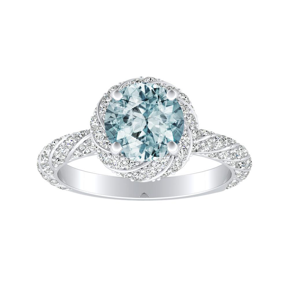 VIVIEN Halo Aquamarine Engagement Ring In 14K White Gold With 1.00 Carat Round Stone