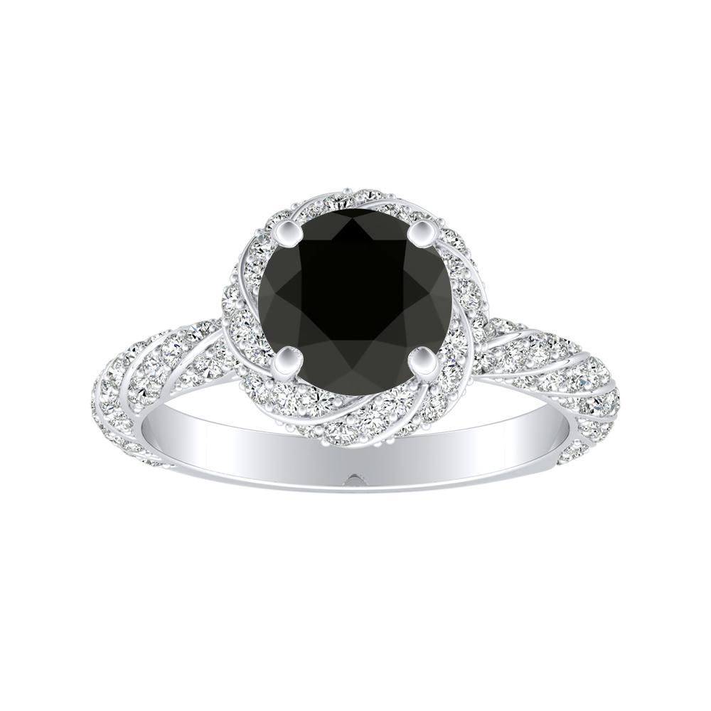 VIVIEN Halo Black Diamond Engagement Ring In 14K White Gold With 1.00 Carat Round Diamond