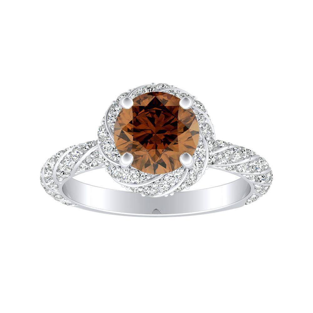VIVIEN Halo Brown Diamond Engagement Ring In 14K White Gold With 0.30 Carat Round Diamond