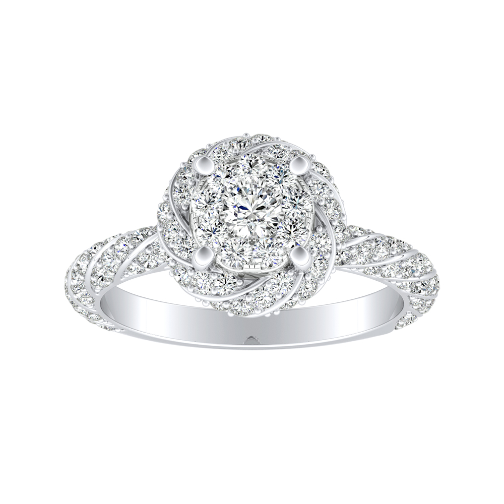 VIVIEN Halo Diamond Engagement Ring I In 14K White Gold With Round Diamond In H-I SI1-SI2 Quality