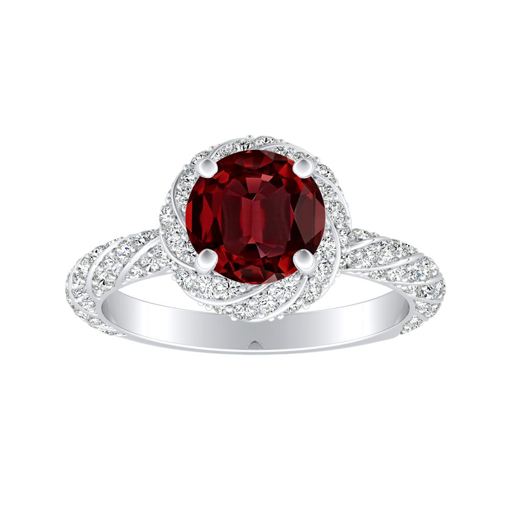 VIVIEN Halo Ruby Engagement Ring In 14K White Gold With 0.30 Carat Round Stone