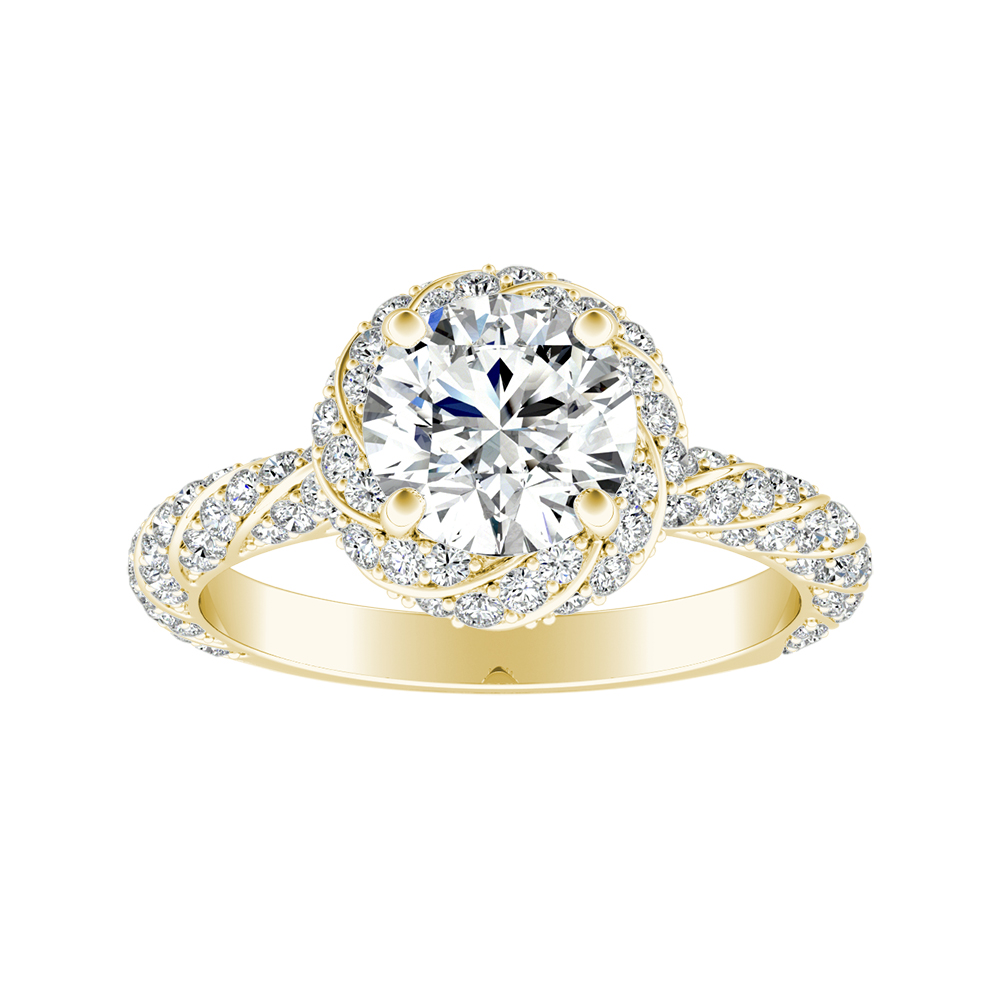 VIVIEN Halo Moissanite Engagement Ring In 14K Yellow Gold With 1.00 Carat Round Stone