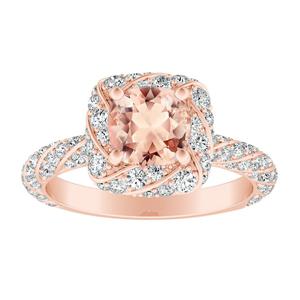 VIVIEN  Halo  Morganite  Engagement  Ring  In  14K  Rose  Gold  With  1.00  Carat  Cushion  Stone