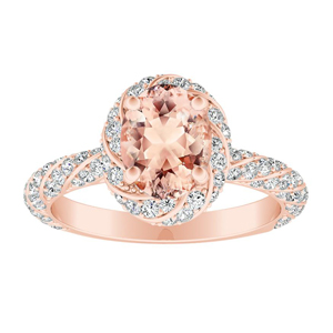 VIVIEN Halo Morganite Engagement Ring In 14K Rose Gold With 2.00 Carat Oval Stone
