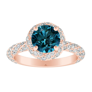 VIVIEN  Halo  Blue  Diamond  Engagement  Ring  In  14K  Rose  Gold  With  0.50  Carat  Round  Diamond