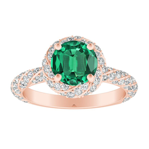 VIVIEN Halo Green Emerald Engagement Ring In 14K Rose Gold With 0.50 Carat Round Stone