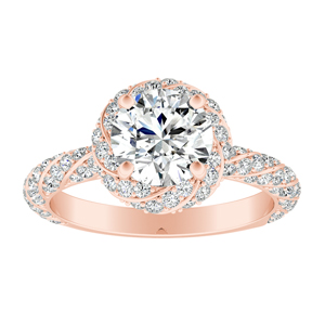 VIVIEN Halo Diamond Engagement Ring In 14K Rose Gold