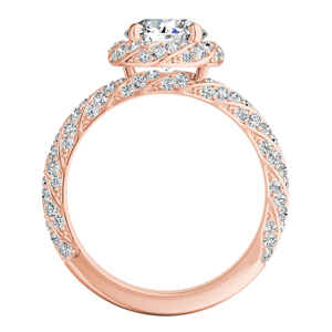 VIVIEN  Halo  Moissanite  Engagement  Ring  In  14K  Rose  Gold  With  0.50  Carat  Round  Stone