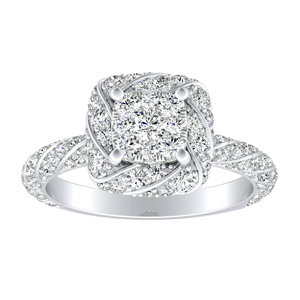 VIVIEN Halo Diamond Engagement Ring I In 14K White Gold With Cushion Diamond In H-I SI1-SI2 Quality
