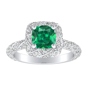 VIVIEN Halo Green Emerald Engagement Ring In 14K White Gold With 0.50 Carat Cushion Stone
