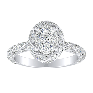 VIVIEN Halo Diamond Engagement Ring I In 14K White Gold With Oval Diamond In H-I SI1-SI2 Quality