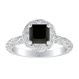 VIVIEN  Halo  Black  Diamond  Engagement  Ring  In  14K  White  Gold  With  1.00  Carat  Princess  Diamond