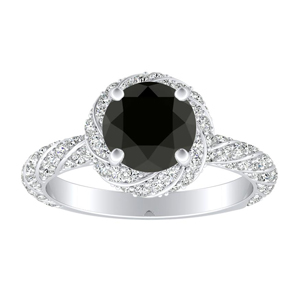 VIVIEN Halo Black Diamond Engagement Ring In 14K White Gold With 0.50 Carat Round Diamond