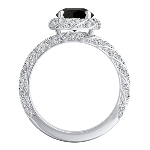 VIVIEN  Halo  Black  Diamond  Engagement  Ring  In  14K  White  Gold  With  1.00  Carat  Round  Diamond