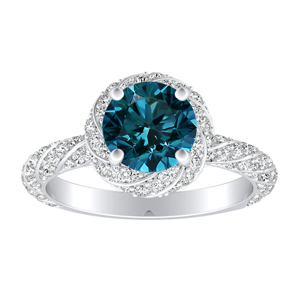 VIVIEN  Halo  Blue  Diamond  Engagement  Ring  In  14K  White  Gold  With  0.50  Carat  Round  Diamond