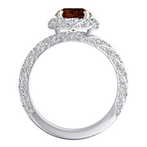 VIVIEN  Halo  Brown  Diamond  Engagement  Ring  In  14K  White  Gold  With  0.50  Carat  Round  Diamond