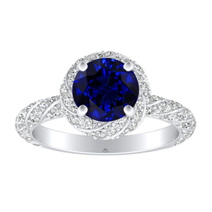 VIVIEN Halo Blue Sapphire Engagement Ring In 14K White Gold With 0.30 Carat Round Stone