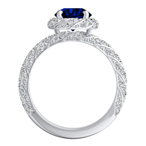 VIVIEN  Halo  Blue  Sapphire  Wedding  Ring  Set  In  14K  White  Gold  With  0.50  Carat  Round  Stone