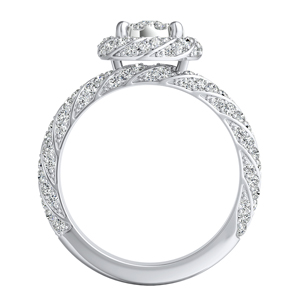 VIVIEN Halo Diamond Engagement Ring I In 14K White Gold With 0.25 Carat Round Diamond In H-I SI1-SI2 Quality