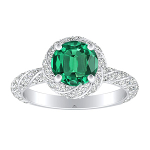 VIVIEN Halo Green Emerald Engagement Ring In 14K White Gold With 0.30 Carat Round Stone