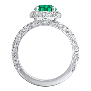VIVIEN  Halo  Green  Emerald  Engagement  Ring  In  14K  White  Gold  With  0.50  Carat  Round  Stone