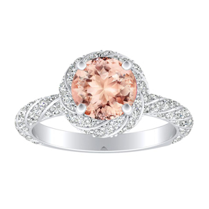 VIVIEN Halo Morganite Engagement Ring In 14K White Gold With 1.00 Carat Round Stone