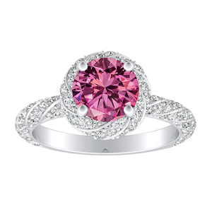 VIVIEN  Halo  Pink  Sapphire  Engagement  Ring  In  14K  White  Gold  With  0.50  Carat  Round  Stone