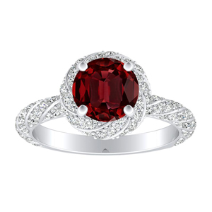 VIVIEN Halo Ruby Engagement Ring In 14K White Gold With 0.50 Carat Round Stone