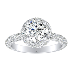 VIVIEN Halo Moissanite Engagement Ring In 14K White Gold With 0.50 Carat Round Stone