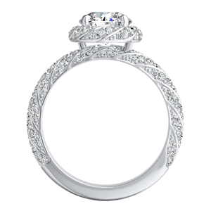 VIVIEN Halo Diamond Wedding Ring Set In 14K White Gold With 0.50ct. Round Diamond