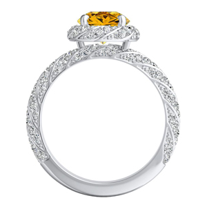 VIVIEN  Halo  Yellow  Diamond  Engagement  Ring  In  14K  White  Gold  With  0.50  Carat  Round  Diamond