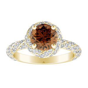 VIVIEN  Halo  Brown  Diamond  Engagement  Ring  In  14K  Yellow  Gold  With  0.50  Carat  Round  Diamond