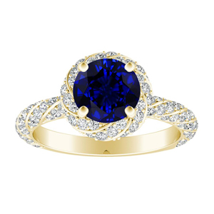 VIVIEN Halo Blue Sapphire Engagement Ring In 14K Yellow Gold With 0.50 Carat Round Stone