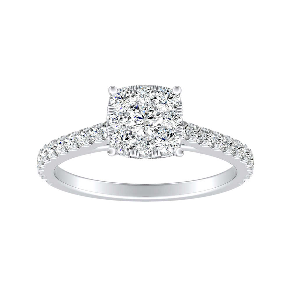 LIV Classic Diamond Engagement Ring In 14K White Gold With Cushion Diamond In H-I SI1-SI2 Quality