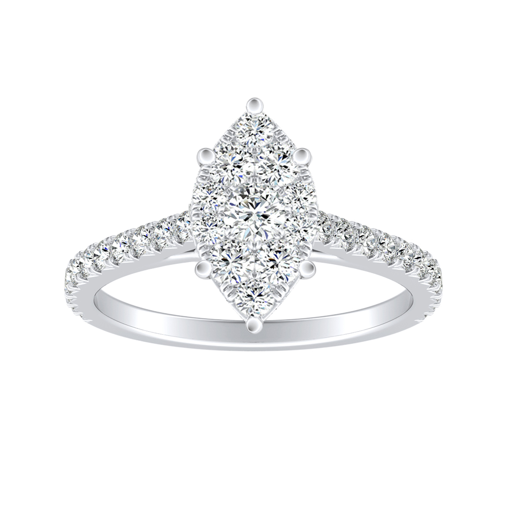 LIV Classic Diamond Engagement Ring In 14K White Gold With Marquise Diamond In H-I SI1-SI2 Quality
