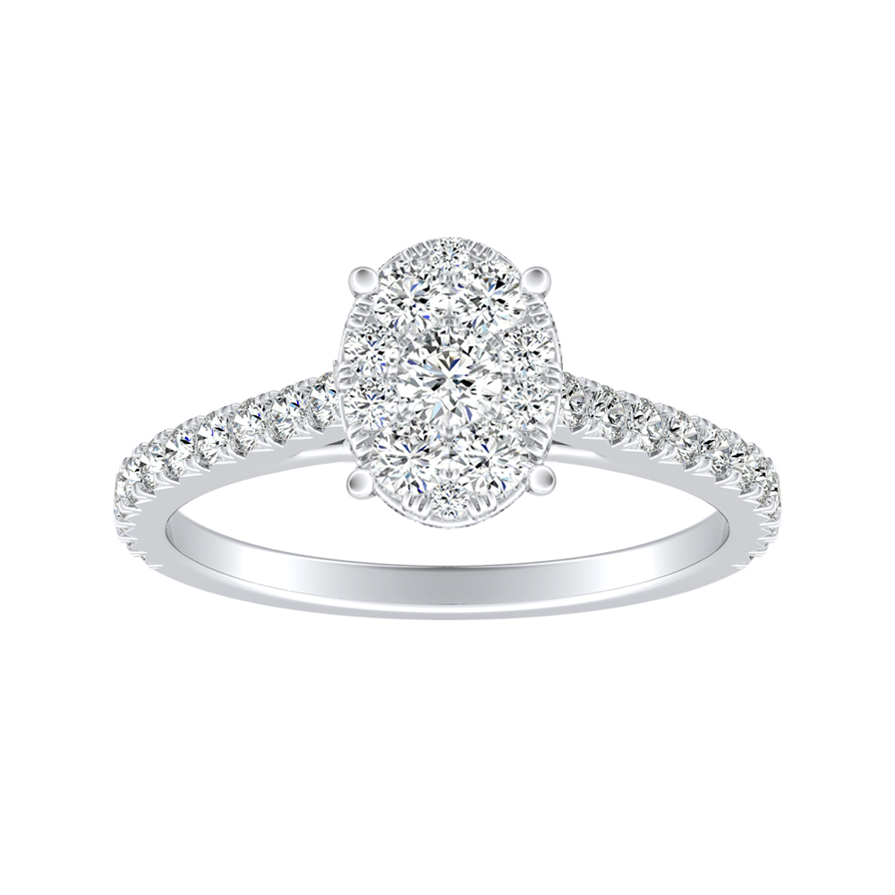 LIV Classic Diamond Engagement Ring In 14K White Gold With Oval Diamond In H-I SI1-SI2 Quality