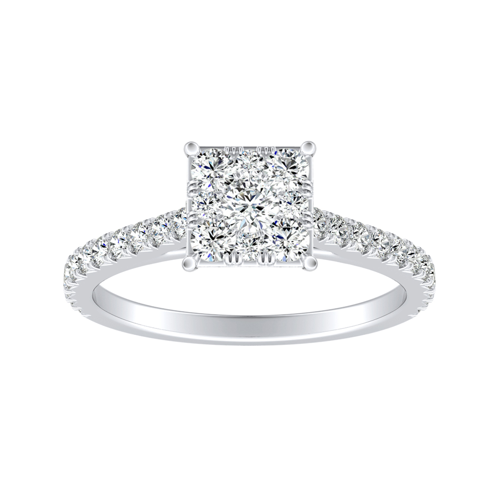 LIV Classic Diamond Engagement Ring In 14K White Gold With Princess Diamond In H-I SI1-SI2 Quality