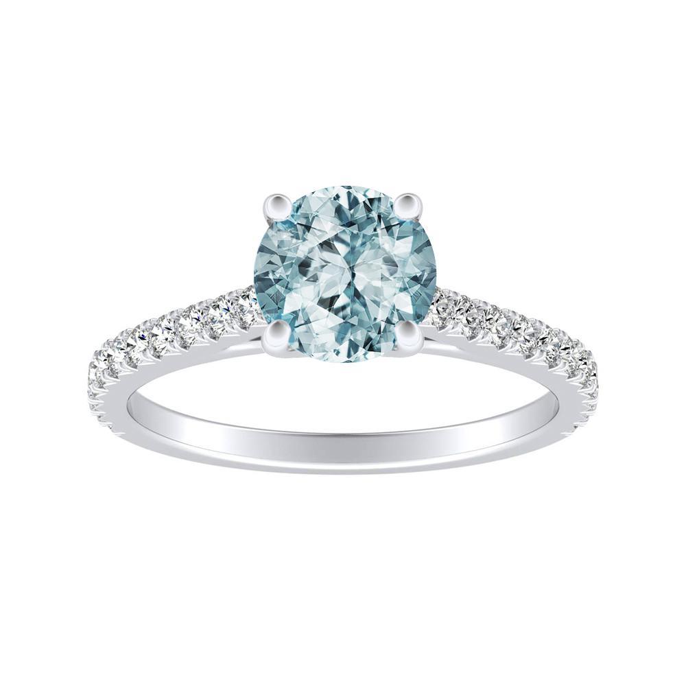 LIV Classic Aquamarine Engagement Ring In 14K White Gold With 1.00 Carat Round Stone