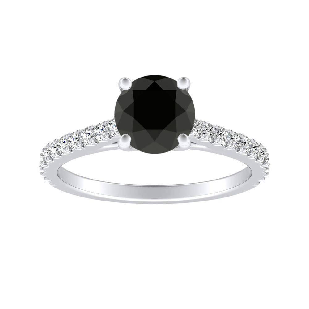 LIV Classic Black Diamond Engagement Ring In 14K White Gold With 1.00 Carat Round Diamond