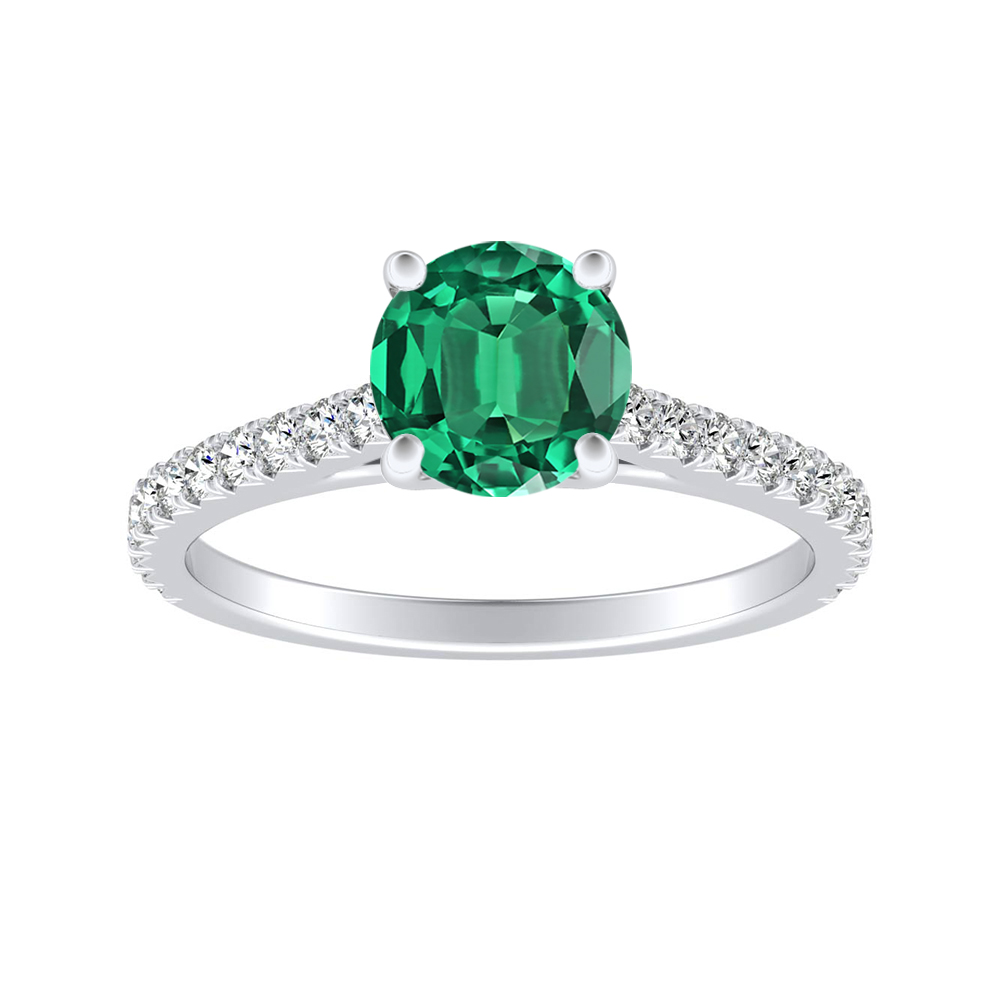 LIV Classic Green Emerald Engagement Ring In 14K White Gold With 0.50 Carat Round Stone