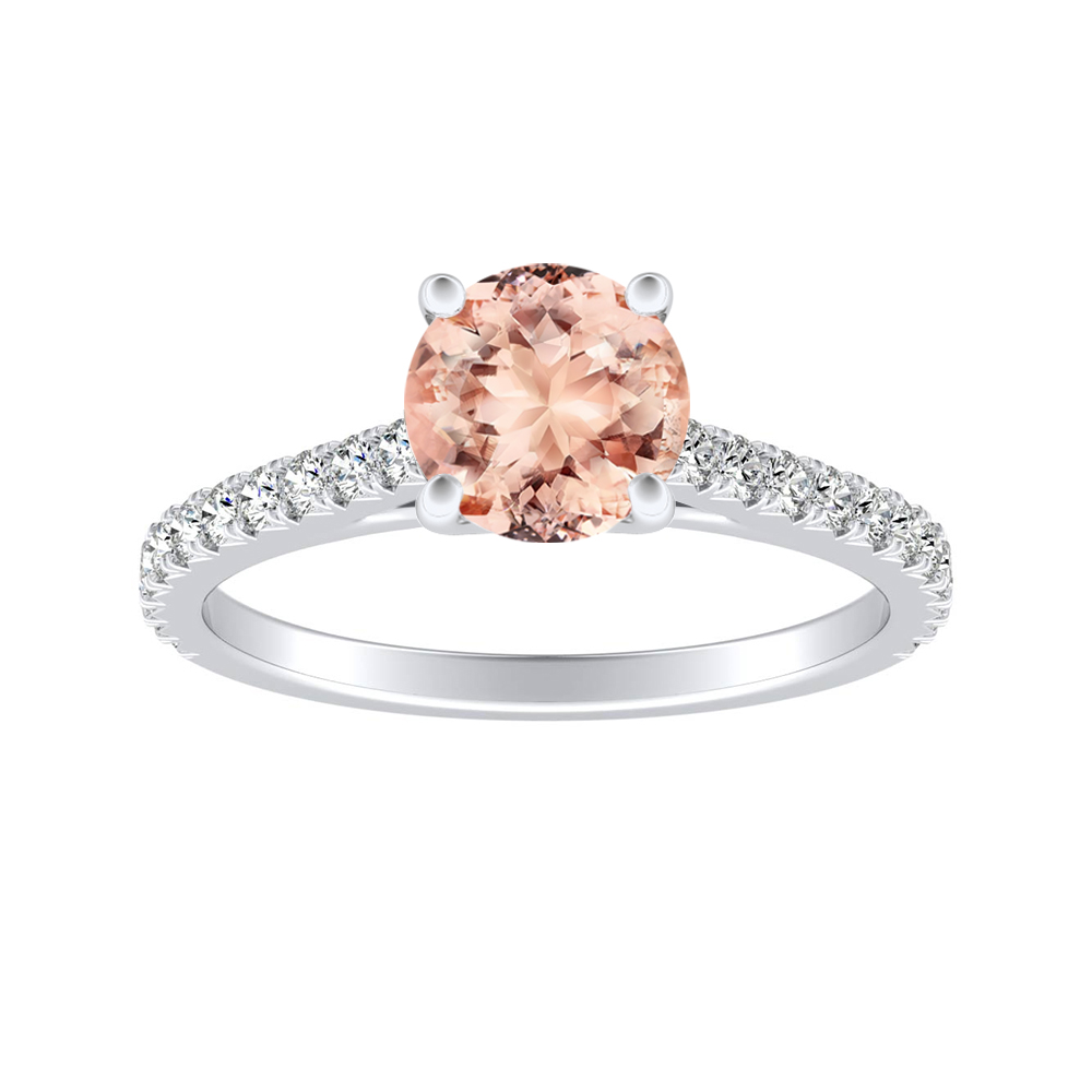 LIV Classic Morganite Engagement Ring In 14K White Gold With 1.00 Carat Round Stone