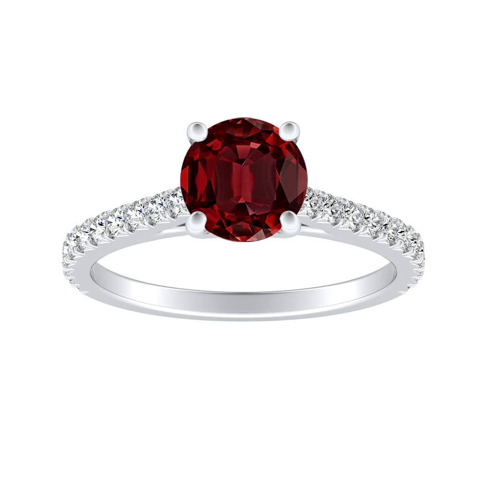 LIV Classic Ruby Engagement Ring In 14K White Gold With 0.30 Carat Round Stone
