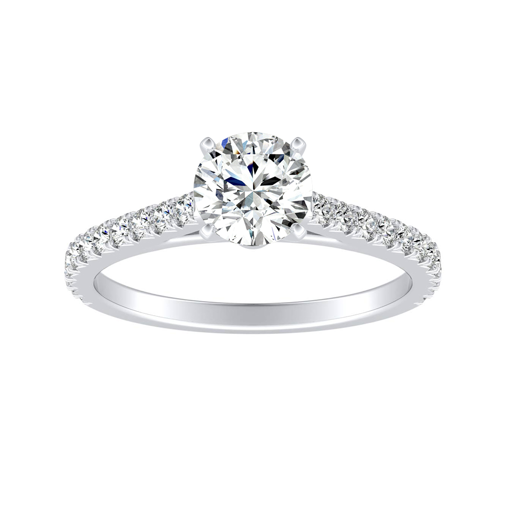LIV Classic Moissanite Engagement Ring In 14K White Gold With 0.50 Carat Round Stone