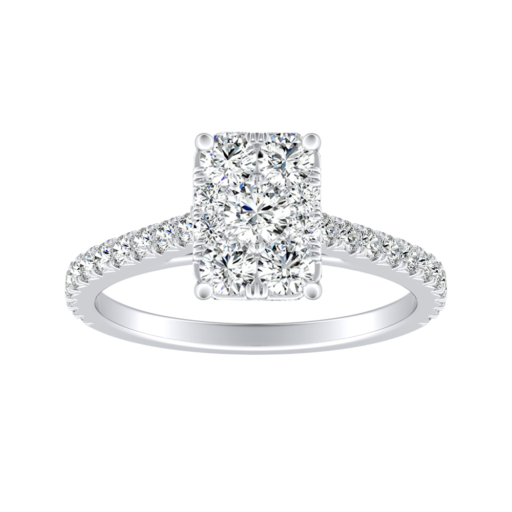 LIV Classic Diamond Engagement Ring In 14K White Gold With Radiant Diamond In H-I SI1-SI2 Quality