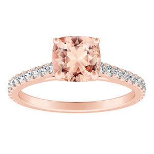 LIV  Classic  Morganite  Engagement  Ring  In  14K  Rose  Gold  With  1.00  Carat  Cushion  Stone